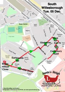Santa Map, South Willesborough