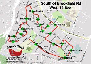 Santa map South of Brookfield Road