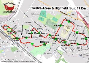 Santa Map: Twelve Acres Highfield