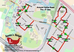 Santa Map: Around Hythe Road