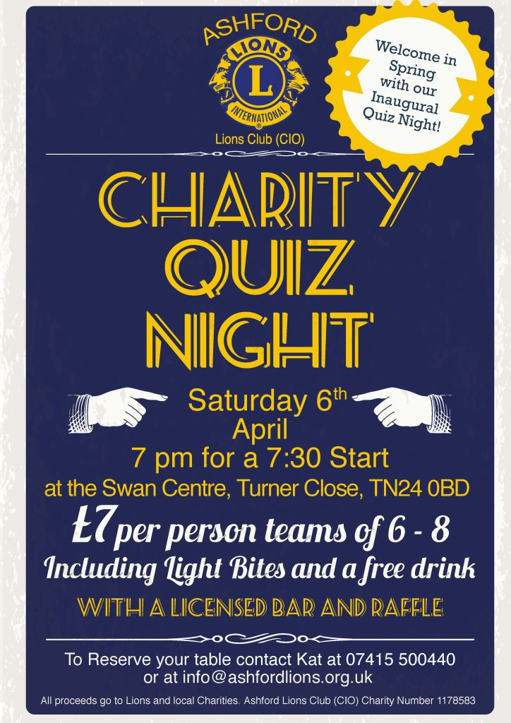Ashford Lions Club Quiz Night 06 April 2019
