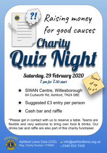 Ashford Lions Charity Quiz Saturday 29 February