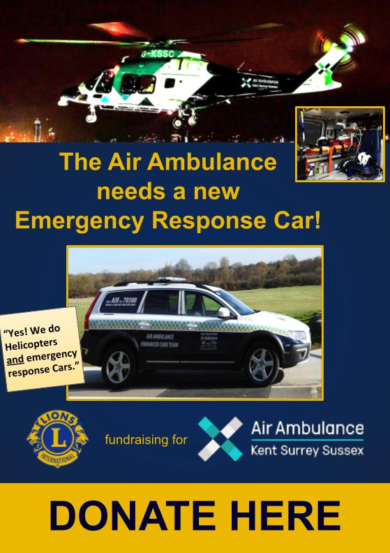 Ashford Lions Club is fundraising for the Air Ambulance KSS